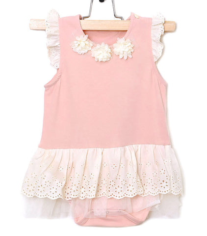 Maeli Rose Pink Onesie with Dotted Lace Skirt for Babies