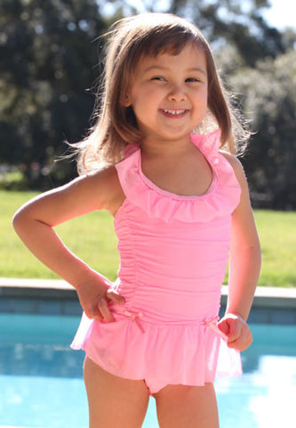 Malibu Hula Star Princess Aurora Pink Swim Dress sz 2T 4T/4 & 5