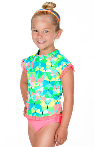 Malibu Hula Star Flight Of The Butterflies Rashguard Bikini sz 2T