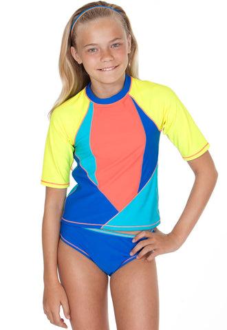Malibu Gossip Girl Block Party Rashguard Bikini UPF 50+