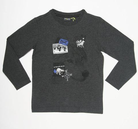Petit Lem Bows & Arrows Charcoal Arctic Mission Top for Tween Boys