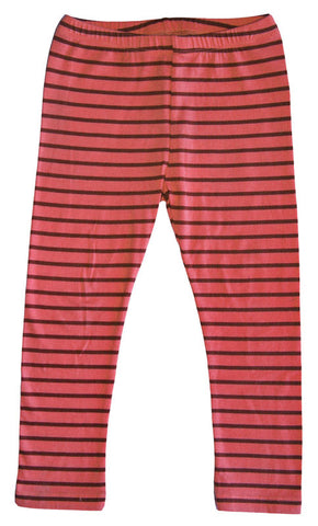 Mimi & Maggie Everyday Stripe Leggings in Coral sz 6x only