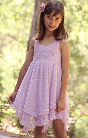Mimi & Maggie Claire Dress with Ruffled Hanky Hem in Lavender sz 3T & 4 only