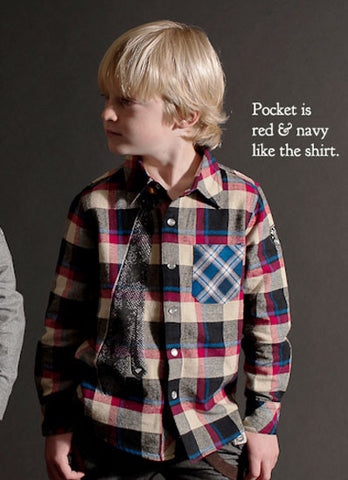 Mini Shatsu Soft Plaid Shirt with Necktie for Boys