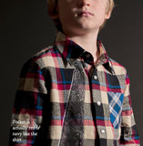 Mini Shatsu Soft Plaid Shirt with Necktie for Boys sz 12 only
