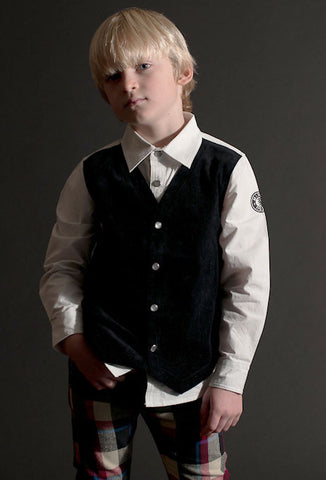 Mini Shatsu Classic Black Vest & Shirt All in One for Boys sz 12m & 18m & 2T only