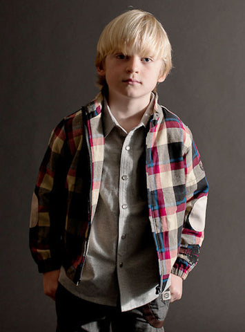 Mini Shatsu Workman Button Down Shirt Jacket in Plaid for Boys sz 12m & 18m only