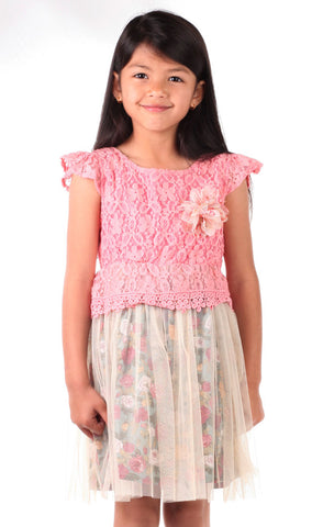 Mini Treasure Kids Willow Lace Dress in Pink
