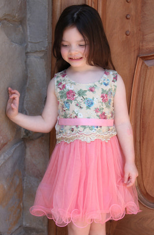 Mini Treasure Kids Willow Gilt Lace Party Dress with Wire Hem