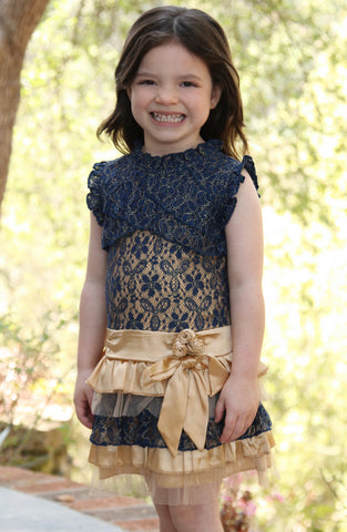 Mini Treasure Kids Cierra Ra Ra Navy & Gold Dress