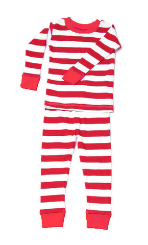 New Jammies Organic Pajamas in Candy Cane Stripe with Red Trim