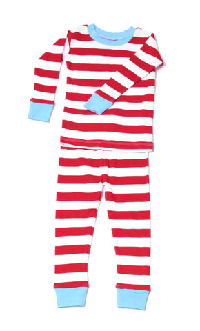New Jammies Organic L/S Pajamas in Red Candy Cane Stripe with Blue Trim sz 12
