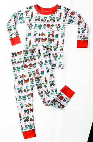 New Jammies Organic Snuggly Santa's Elves L/S Pajamas sz 24m & 7 & 8 & 12