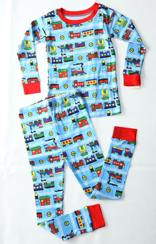 New Jammies Organic Pajamas in Trains