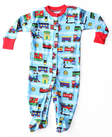 New Jammies Organic Footed Romper in Trains with Snap Front