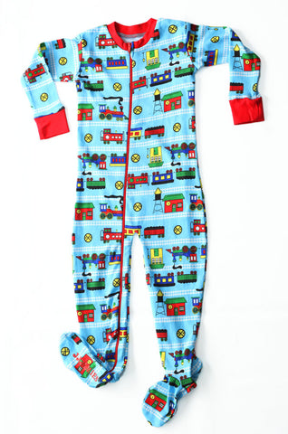 New Jammies Organic Footed Romper in Trains with Zipper Front for Toddlers