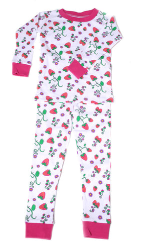 New Jammies Organic L/S Pajamas in Strawberry Fields sz 2t only