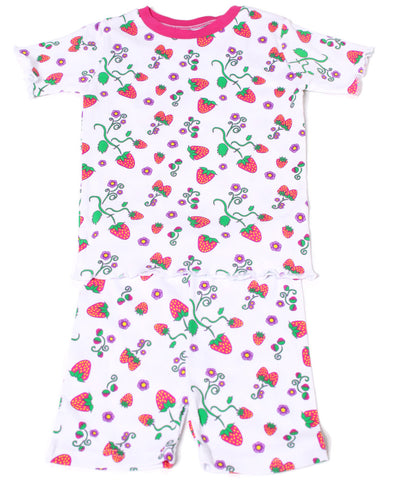 New Jammies Organic Short Pajamas in Strawberry Fields sz 5 only