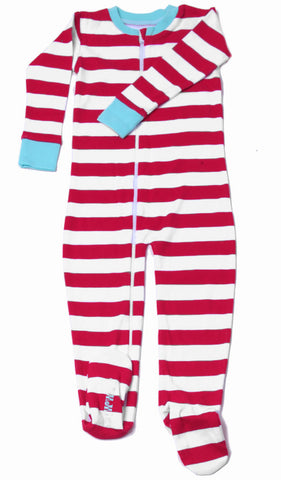 New Jammies Organic Footed Zippered Romper in Candy Cane Red Stripe with Blue Trim sz 4T