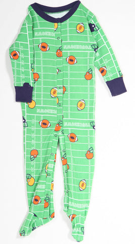 New Jammies Organic Footie Romper Pajamas in Football Field - sz 6 mos only