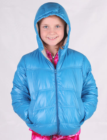 Jordon Ultra Light Down Hooded Jacket in Bright Blue with Pouch sz 3 only