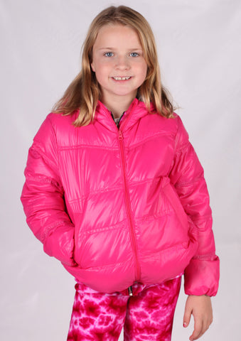 Jordon Ultra Light Down Hooded Jacket in Bright Pink with Pouch sz 4 only