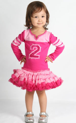 Ooh La La Couture Varsity Birthday Dress in Pink Lady/Hot Pink sz 12 m only