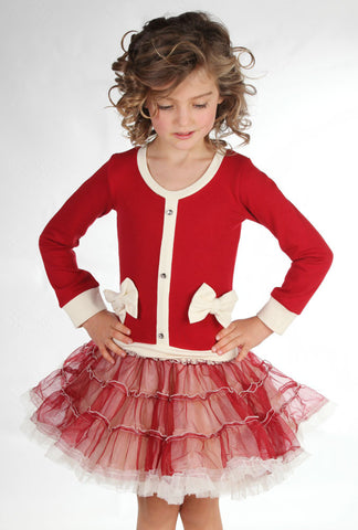 Ooh La La Couture Coco Cardigan Dress in Red for Girls sz 5 only