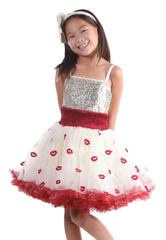 Ooh La La Couture Wow Pouf Dress in Red Kisses/Champagne sz 10 & 12 only