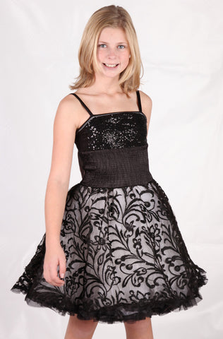 Ooh La La Couture Wow Embroidered Pouf Dress in Black in sz 2T & 4T & 14 only