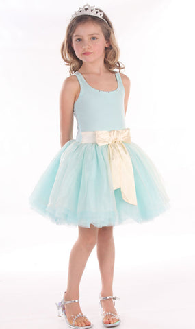 Ooh La La Couture Tie Bow Dress in Blue Ice sz 18 mos & 24 mos & 2T & 14 only