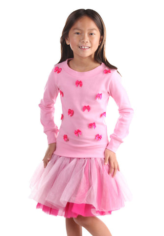 Ooh La La Couture L/S Little Bows Dress in Pink Lady/Hot Pink