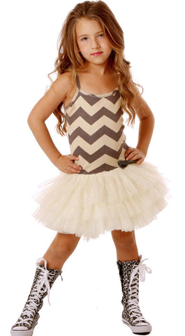 Ooh La La Couture Chevron Ruffle Tutu Dress sz 24 mos only