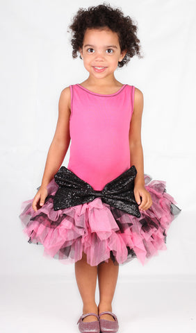 Ooh La La Couture Crazy Sparkle Bow Dress in Candy Pink sz 14 only