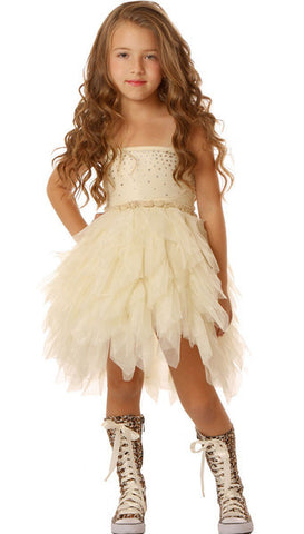 Ooh La La Couture Devin Dress with Swarovski Crystals in Champagne Ivory sz 6 & 8 only
