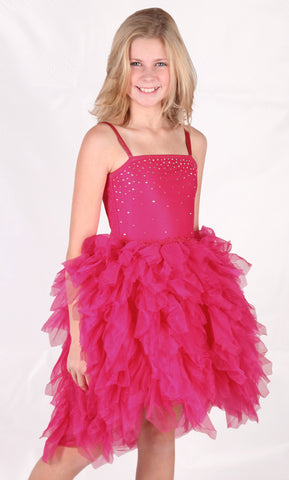 Ooh La La Couture Devin Dress with Swarovski Crystals in Hot Pink sz 4 only