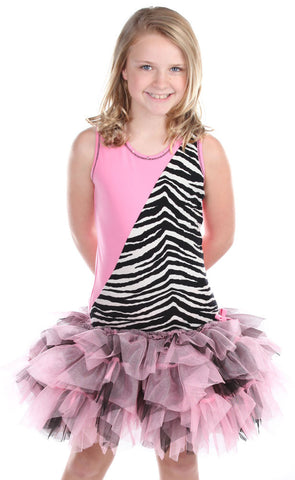 Ooh La La Couture Diagonal Dress in Zebra sz 12m  3T 4 only