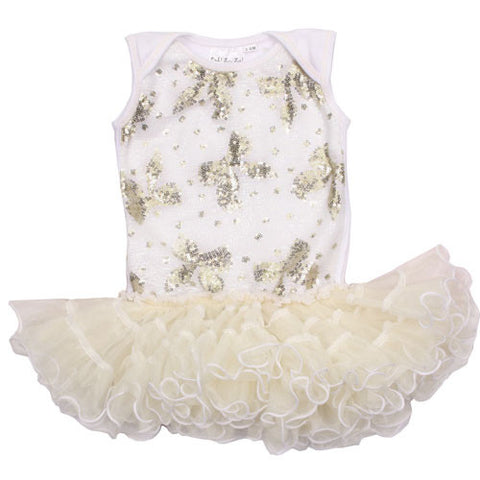 Ooh La La Couture Curly Hem Poufier with Champagne Bows in White for Babies