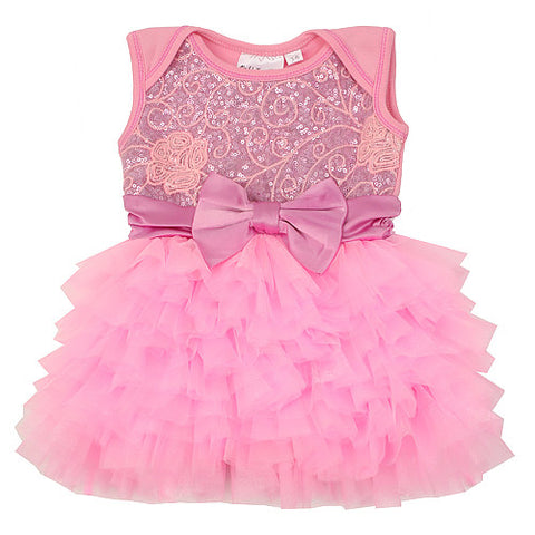 Ooh La La Couture Embroidered Tulle Wow Dream Dress in Pink Lady & Lavender for Babies