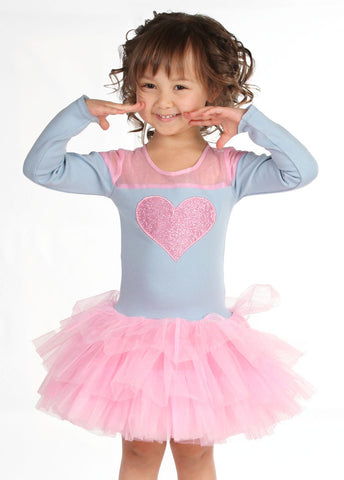 Ooh La La Couture Tulle Shoulder Heart Dress in Pink and Blue
