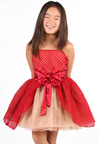 "Ooh La La Couture Jenna ""Cinderella"" Dress in Red & Rose Gold for Tweens"