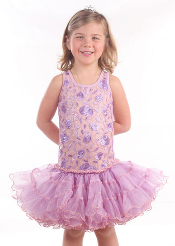 Ooh La La Couture Curly Hem Poufier in Embroidered Lilac sz 18m 10 y  12 & 14 y