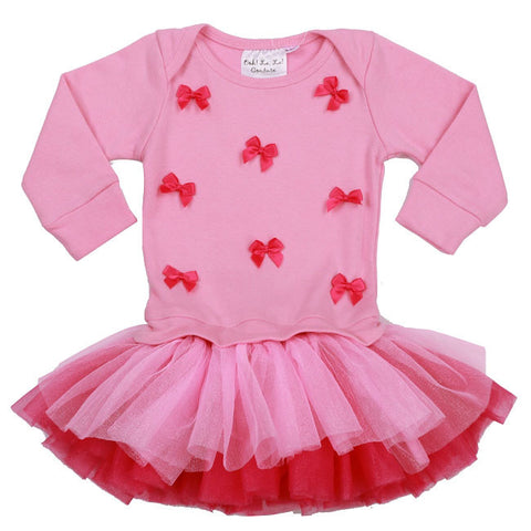 Ooh La La Couture L/S Little Bows Dress in Pink Lady/Hot Pink for Babies