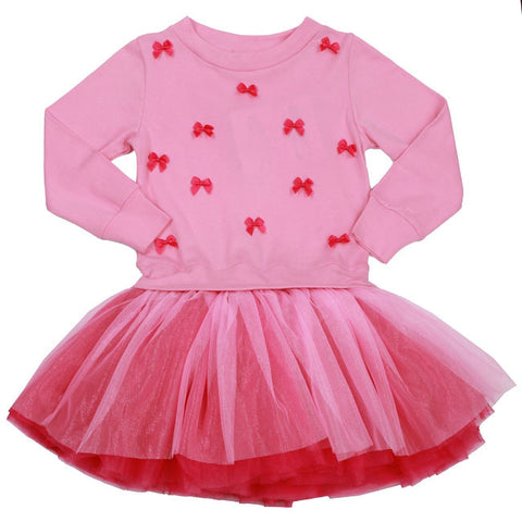 Ooh La La Couture L/S Little Bows Dress in Pink Lady/Hot Pink sz 12 only