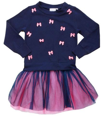 Ooh La La Couture L/S Little Bows Dress in Navy/Pink Lady sz 14