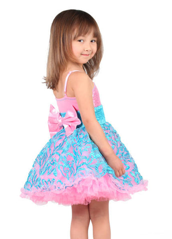 Ooh La La Couture Wow Embroidered Pouf Dress in Pink Lady/Blue sz 3T & 4 only