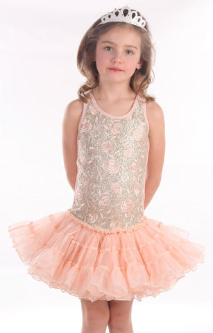 Ooh La La Couture Curly Hem Poufier in Embroidered Pink Champagne sz 24m - 4 y