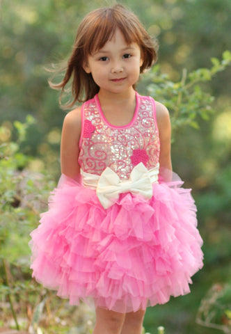 Ooh La La Couture Embroidered Tulle Wow Dream Dress in Candy Pink & Champagne sz 3T only