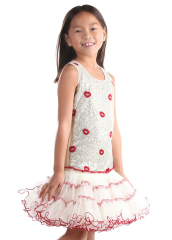 Ooh La La Couture Curly Edge Poufier in Champagne/Red Kisses sz 12m-4y & 8 & 14 only