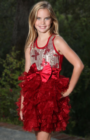 Ooh La La Couture Wow Dream Dress with Red Sequin Bows for Girls & Tweens sz 5 & 6x/7
